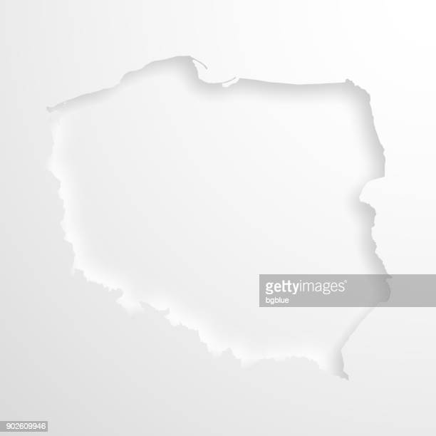 poland map with embossed paper effect on blank background - poland stock illustrations