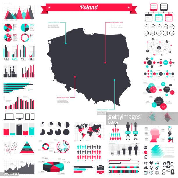 poland map with infographic elements - big creative graphic set - poland stock illustrations