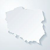 Poland map with paper cut effect on blank background