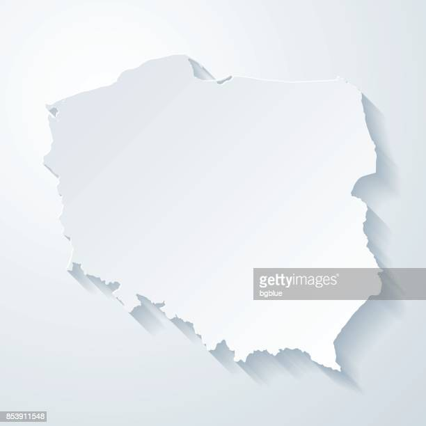 poland map with paper cut effect on blank background - poland stock illustrations
