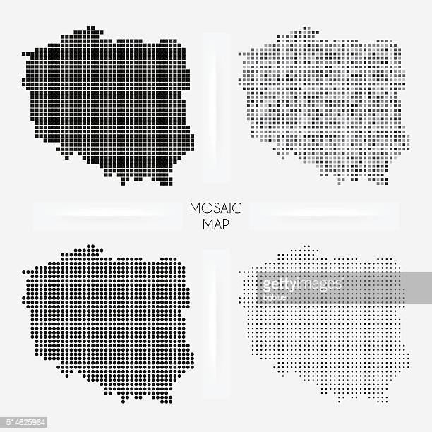 Poland maps - Mosaic squarred and dotted