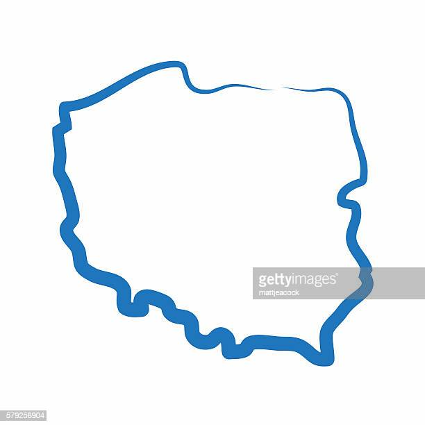 stockillustraties, clipart, cartoons en iconen met poland outline map made from a single line - polen