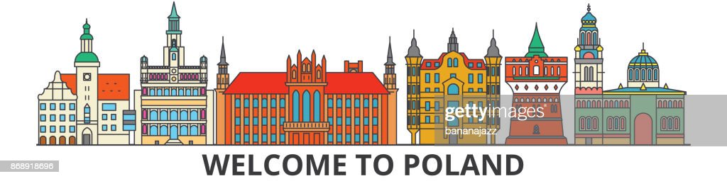 Poland outline skyline, polish flat thin line icons, landmarks, illustrations. Poland cityscape, polish travel city vector banner. Urban silhouette
