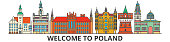 Poland outline skyline, polish flat thin line icons, landmarks, illustrations. Poland cityscape, polish travel city vector banner. Urban silhouette