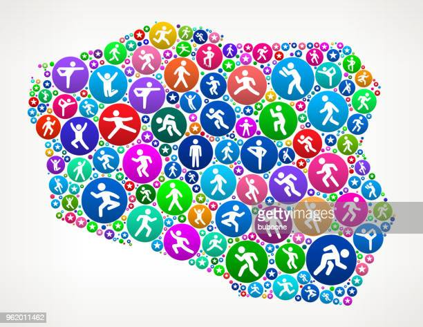 poland people motion fitness icon background - cardiovascular exercise stock illustrations, clip art, cartoons, & icons