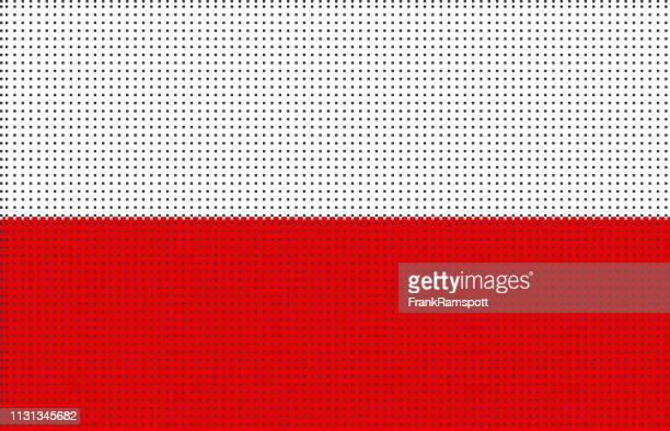 polen pixelte vektorflagge - polnische flagge stock-grafiken, -clipart, -cartoons und -symbole