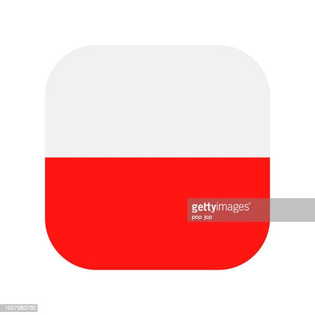 polen - quadratische vektor flache flaggensymbol - polnische flagge stock-grafiken, -clipart, -cartoons und -symbole