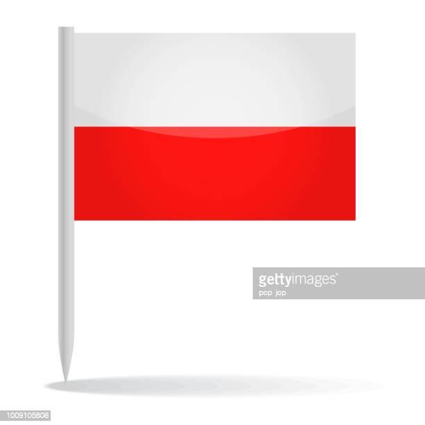 polen - vektor pin glänzend flaggensymbol - polnische flagge stock-grafiken, -clipart, -cartoons und -symbole