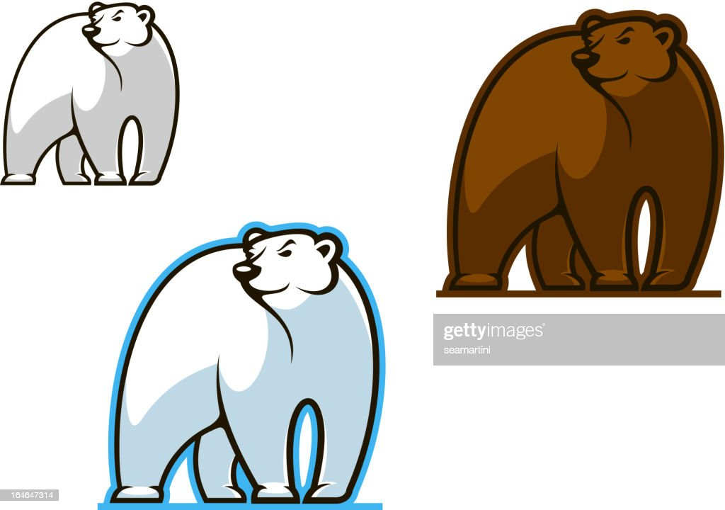 Polar and brown bear