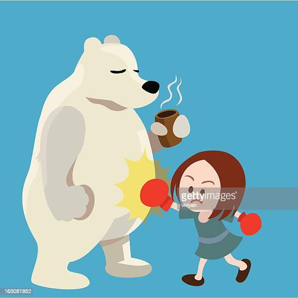 Polar bear and boxing girl
