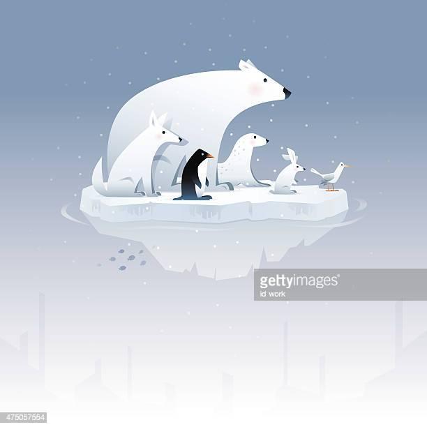 illustrations, cliparts, dessins animés et icônes de motif ours polaire et amis - ours polaire