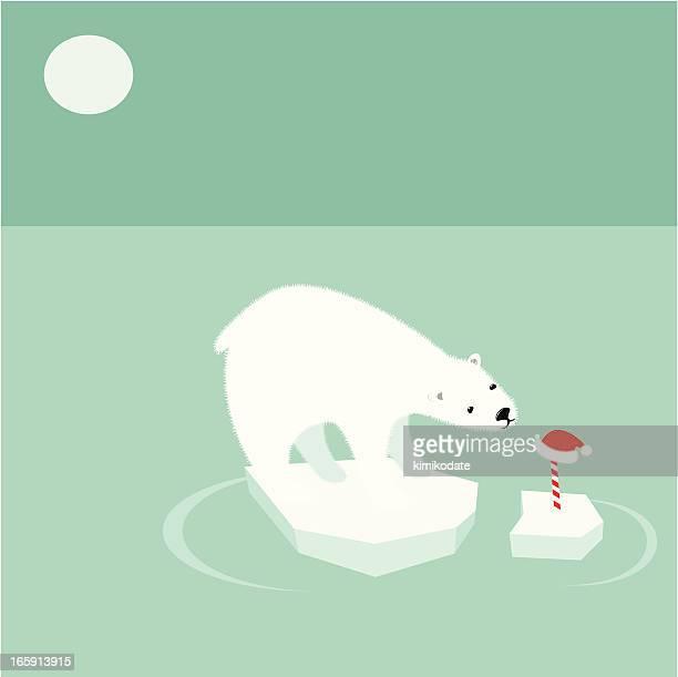 ilustraciones, imágenes clip art, dibujos animados e iconos de stock de oso polar y el calentamiento global - oso polar