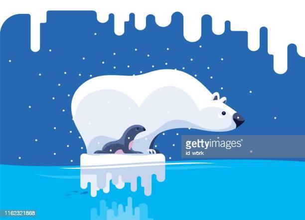 illustrations, cliparts, dessins animés et icônes de ours polaire et joint restant sur l'iceberg - ours polaire