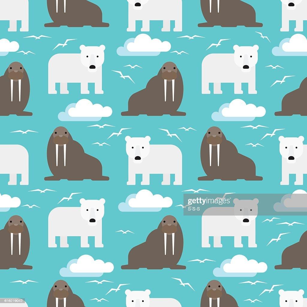 Polar Bear and Walrus Seamless Pattern : Vector Art