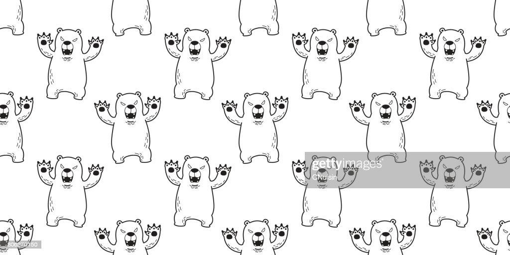 Polar Bear Angry Seamless Pattern white wallpaper background vector