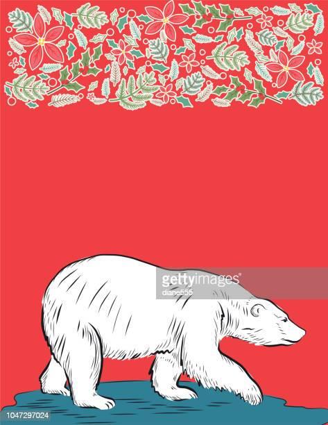 illustrations, cliparts, dessins animés et icônes de backgorund de noël ours polaire - ours polaire