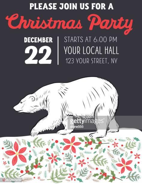 ilustraciones, imágenes clip art, dibujos animados e iconos de stock de tarjeta de navidad de oso polar con texto dibujado a mano - oso polar