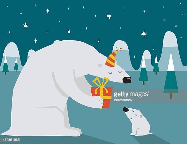illustrations, cliparts, dessins animés et icônes de ours polaire noël - anniversaire enfant