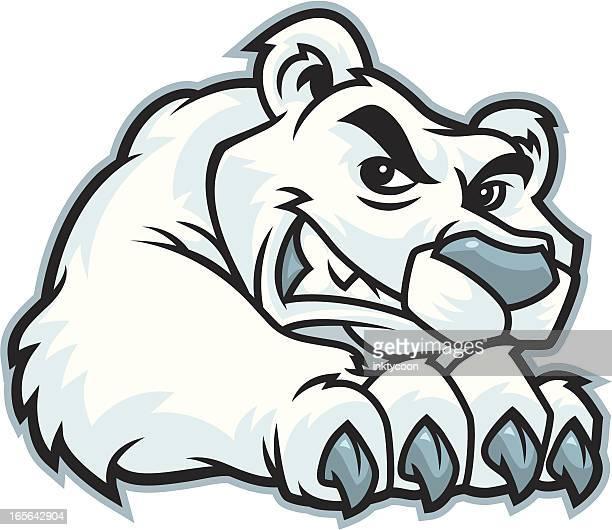 ilustraciones, imágenes clip art, dibujos animados e iconos de stock de garra de oso polar mascot - oso polar