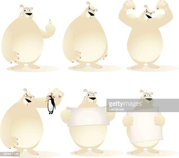 polar bear collection - collection stock illustrations, clip art, cartoons, & icons