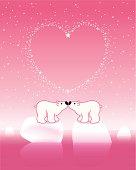 Polar Bear Couple on Icebergs with Star_Pink_Heart