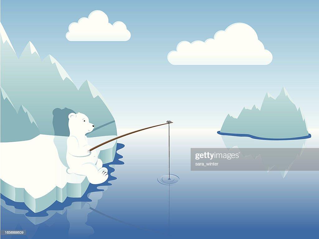 Polar bear fishing in Arctic surroundings