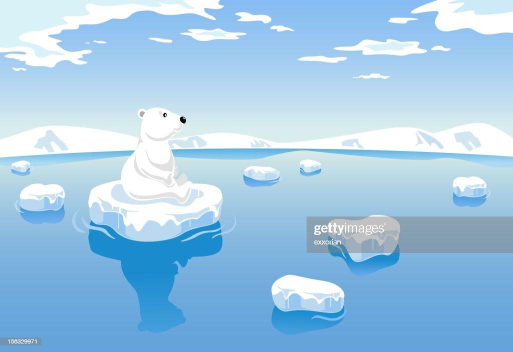 Polar Bear Global Warming : stock illustration