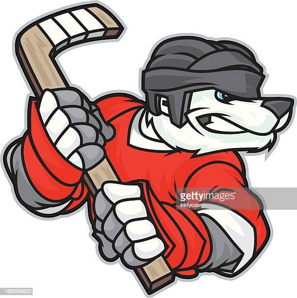 polar bear hockey - ice hockey stick stock illustrations