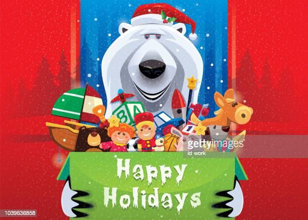 polar bear holding carton of toys