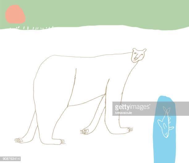 polar bear in the snow - aurora borealis stock illustrations