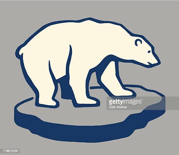 illustrations, cliparts, dessins animés et icônes de ours polaire sur un morceau de glace - ours polaire