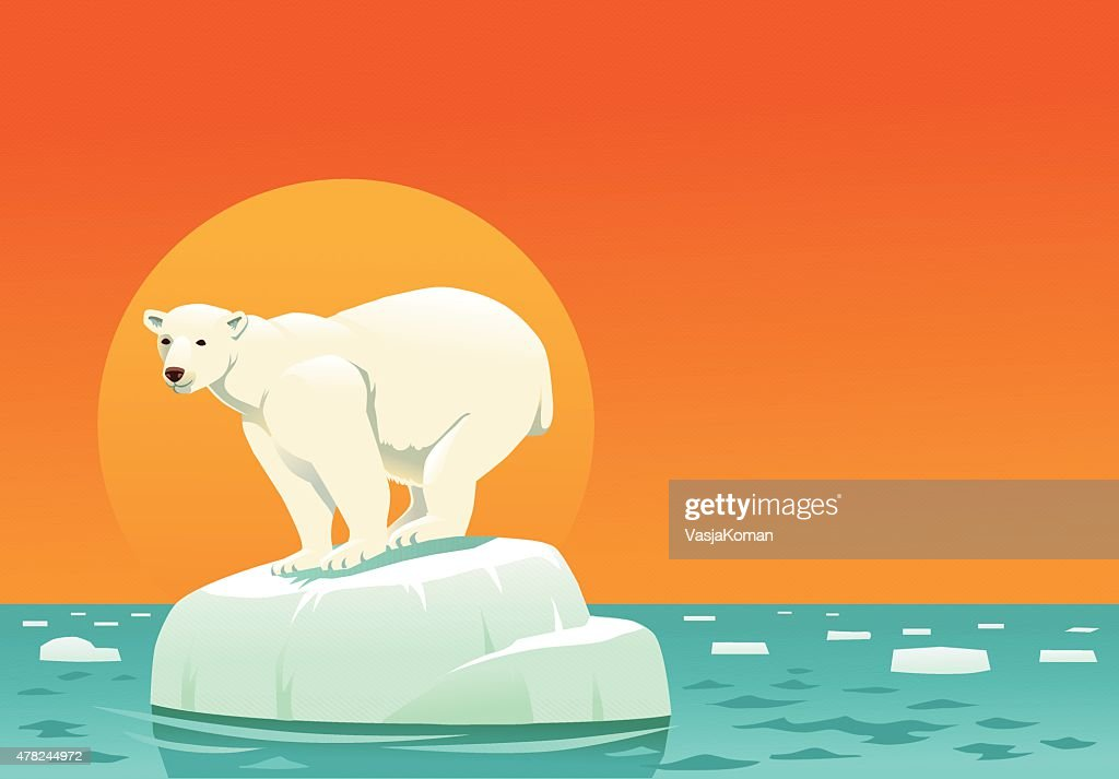 Polar Bear on Ice Floe - Global Warming with Copyspace