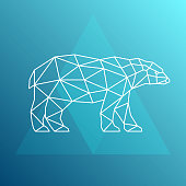 Polar bear, side view. Geometric style. Vector illustration.