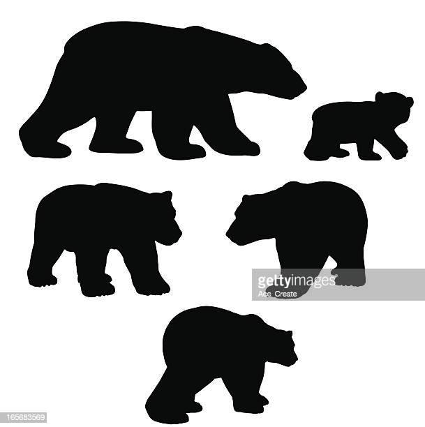 illustrations, cliparts, dessins animés et icônes de ours polaire collection de silhouette de mammifère à fourrure - ours polaire