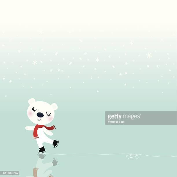 polar bear skating - ice skating stock illustrations