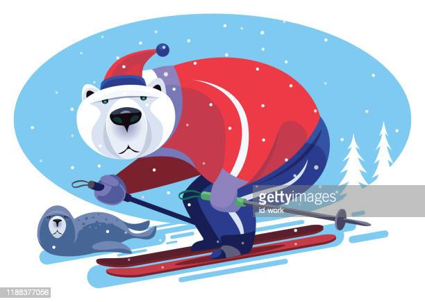 illustrations, cliparts, dessins animés et icônes de ski d'ours polaire avec le phoque - ski humour