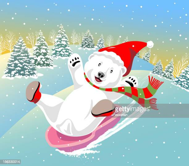 polar bear sledding - tobogganing stock illustrations, clip art, cartoons, & icons