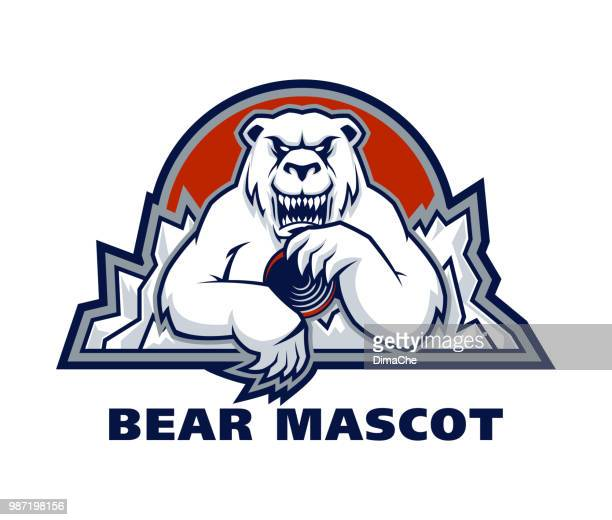 polar bear sport mascot - hockey stock illustrations, clip art, cartoons, & icons