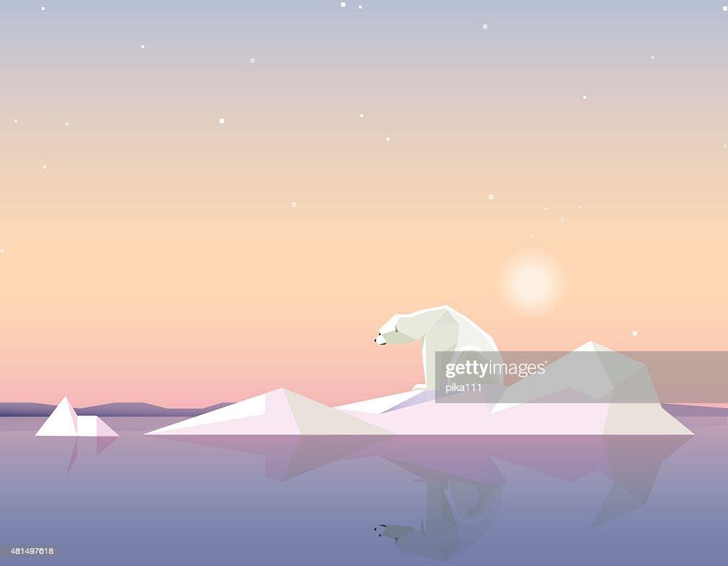 polar bear standing on the melting iceberg formation on sunset