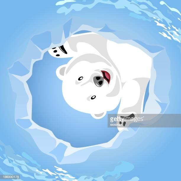 illustrations, cliparts, dessins animés et icônes de ours polaire attendre à un phoque s air trou - ours polaire