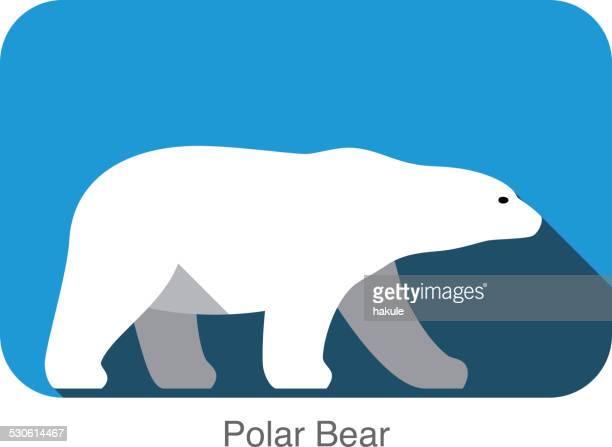 ilustraciones, imágenes clip art, dibujos animados e iconos de stock de oso polar a lado 3d icono de diseño plano - oso polar