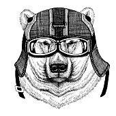 Polar bear, white bear Hipster animal wearing motorycle helmet. Image for kindergarten children clothing, kids. T-shirt, tattoo, emblem, badge, logo, patch