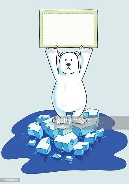 polar bear with a sign on iceberg - north pole stock illustrations, clip art, cartoons, & icons