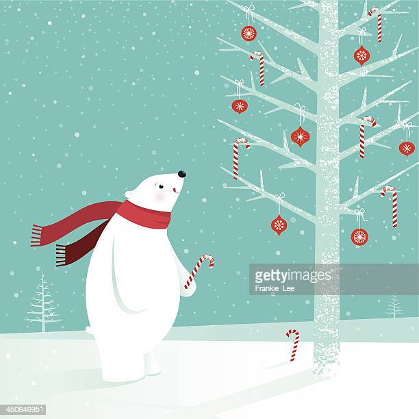 polar bear with candy cane - candy cane stock illustrations