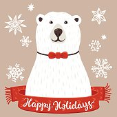 Polar Bear with Happy Holidays inscription