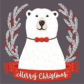 Polar Bear with Merry Christmas inscription