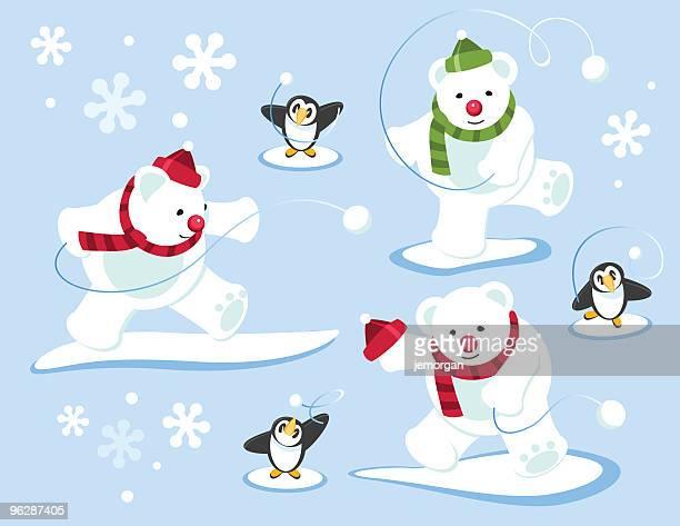 illustrations, cliparts, dessins animés et icônes de ours polaires et des pingouins lancer des boules de neige - ours polaire