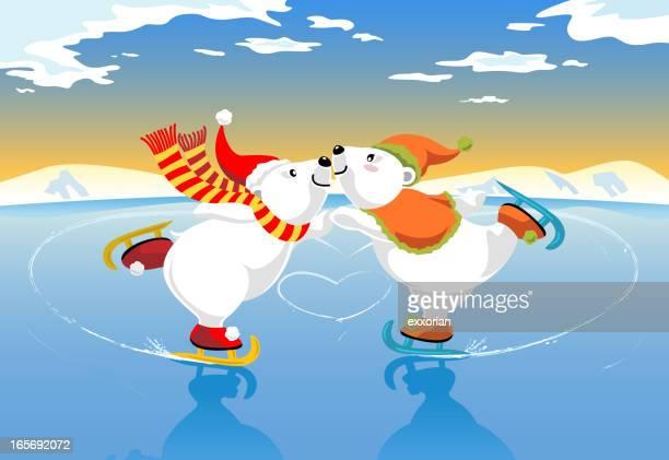 Eisbären Eislaufen Romantik