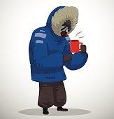 Polar explorer in blue jacket