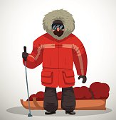 Polar explorer in red jacket